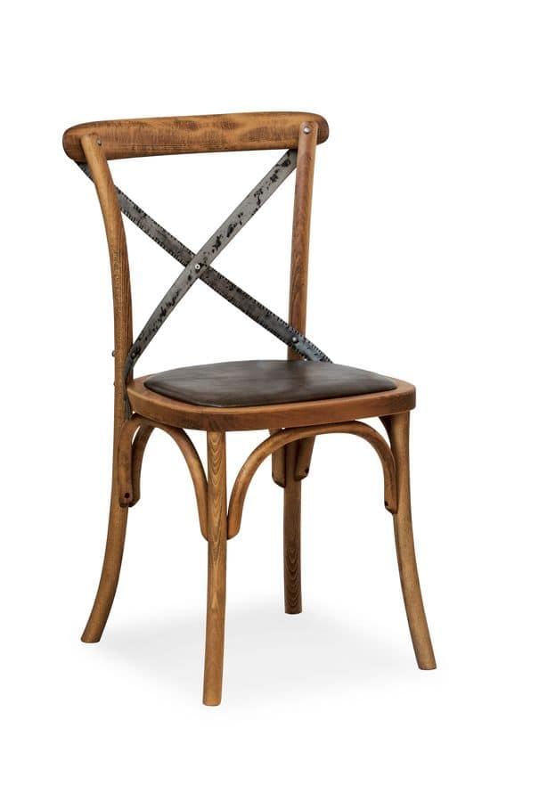 Ciao Iron, Chair in solid beech, seat in imitation leather