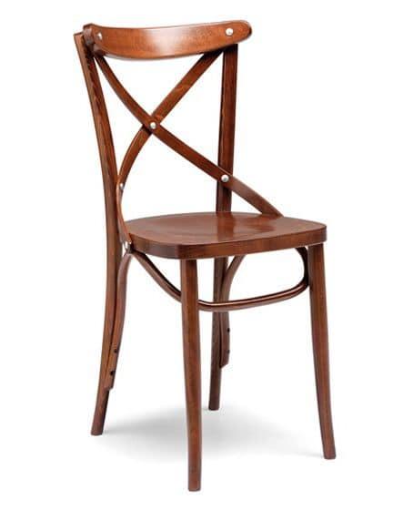 Croce sedile sezionato, Chair for pub and restaurant, bent wood structure