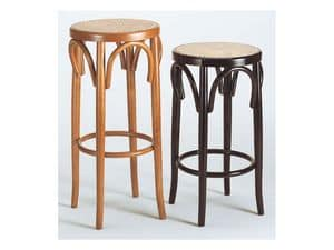 128, Thonet stool, round cane seat, for Hotels