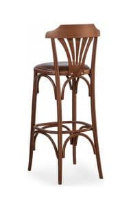 B05, Barstool in curved wood, upholstered seat for bars, pubs and fast foods
