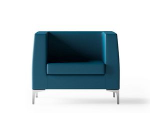 DEXTER, Armchair with chrome feet for waiting rooms