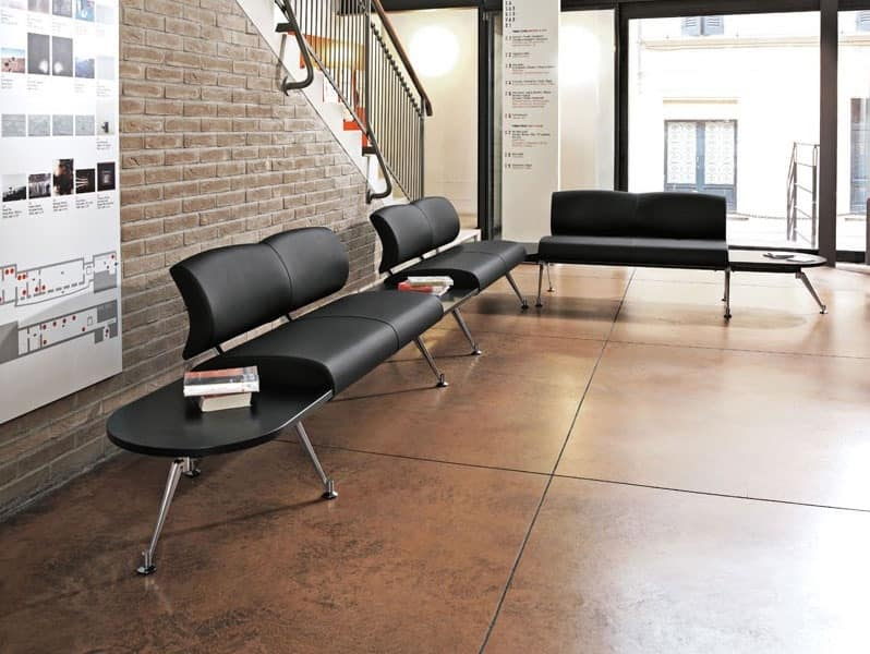 Kondor, Modular bench, upholstered seat and back, for waiting areas