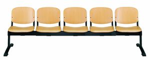 Stella wood 100 bench, Seat on beam, in wood, for waiting areas