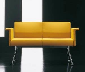 Ypsilon 2p, Simple sofa with chromed metal base, for contract use