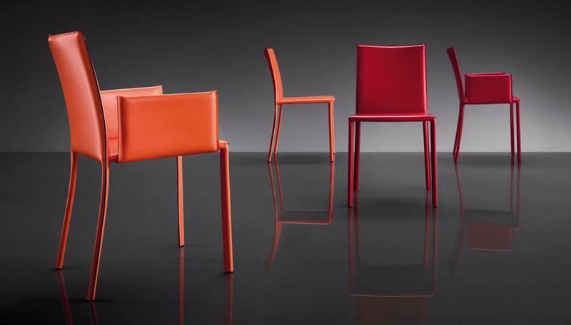 ART. 236 SUNRISE, Chair upholstered in leather, metal base, for waiting room