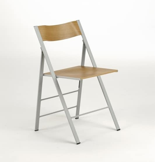 Pocket wood, Folding chair, with metal structure, for the kitchen