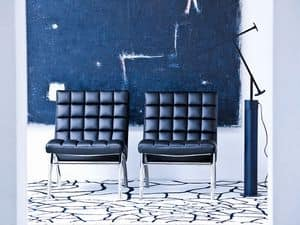 Marsiglia ATT, Chair covered in leather, large seat, for Entrance