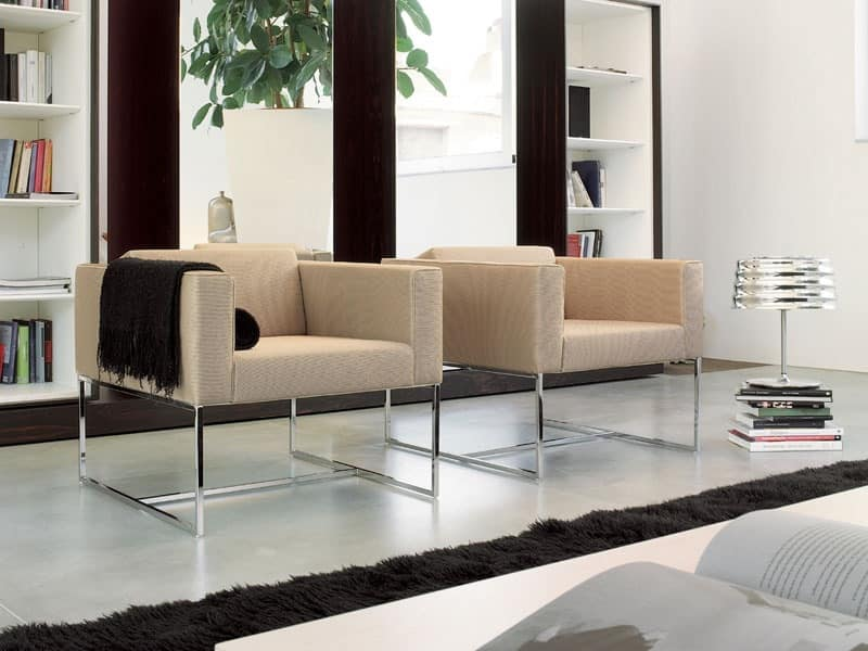 Modern Armchair With Square Tubular For Contract Use