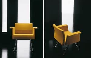 Ypsilon 1p, Upholstered armchair, with chrome legs, for reception