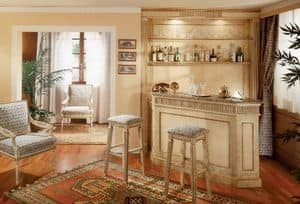 Collezione Ginevra, Custom furniture for bar area, lacquered crackled boiserie