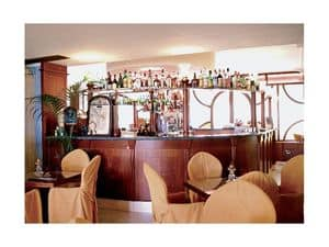Regency Hotel 2, Made-on-measure bar counter, fine wood structure, marble top
