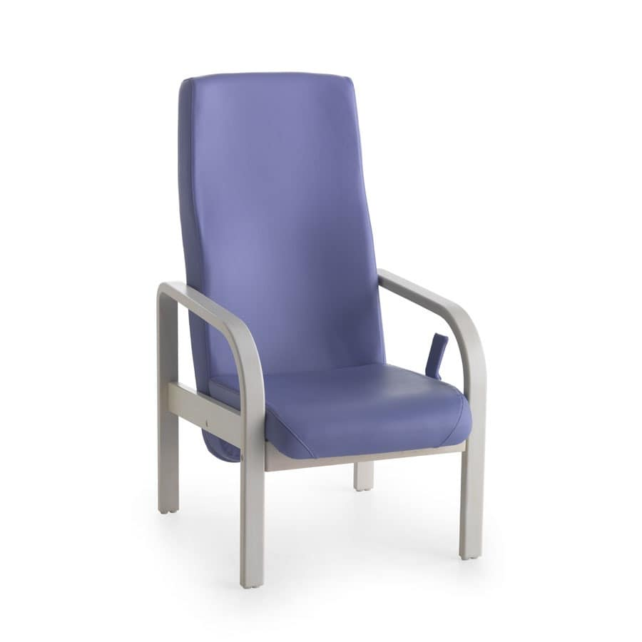 Chair for the elderly, rounded armrests, for hospices ...