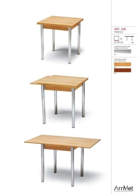 Parigi 70x70, Square table, extendable, for kitchen furnishing