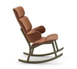 Bands rocking bergere, Rocking chair in beech and leather with high backrest