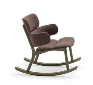 Bands rocking lounge armchair, Rocking chair made of solid beech wood and eco-leather