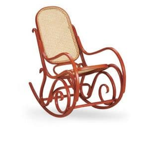 Dondolo, Rocking chair made of wood, seat and backrest made of cane