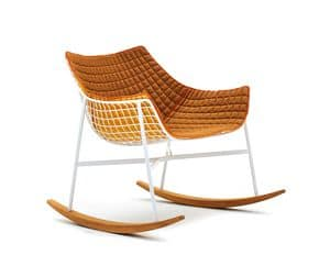 Summer set rocking chair, Padded rocking chair in steel and teak, for outside