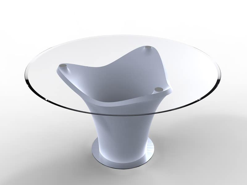 table with alternative design, round table, table with glass top 3-Pod