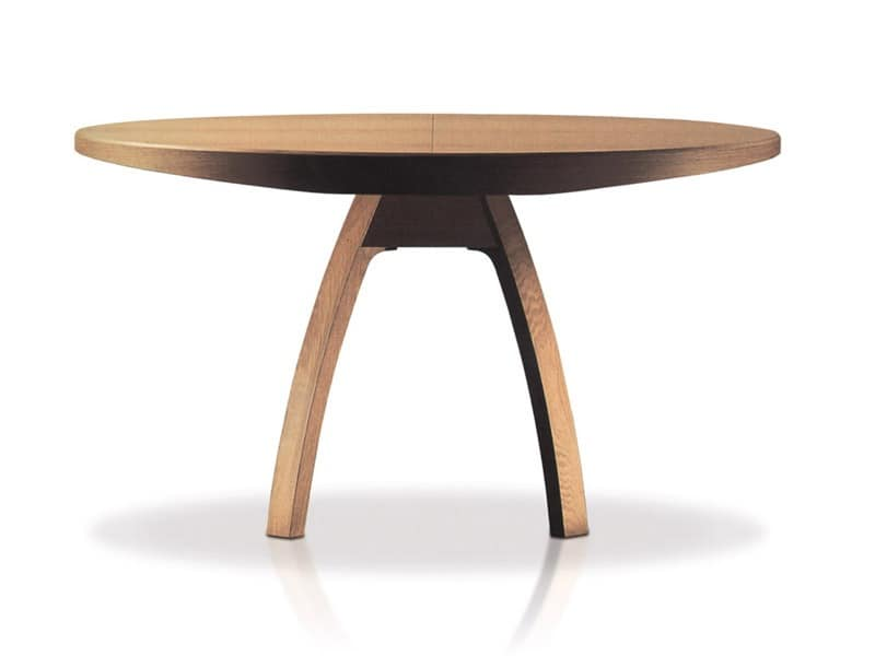 Extendible Wooden Table Round Top For Dining Rooms
