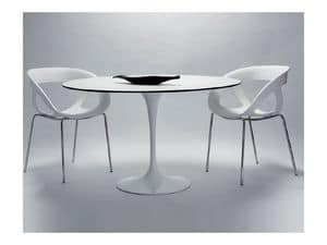 Saturno cod. 107 cod. 116, Round table with painted aluminum base