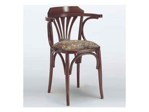 121 T, Rustic chair with armrests, curved wood, for house