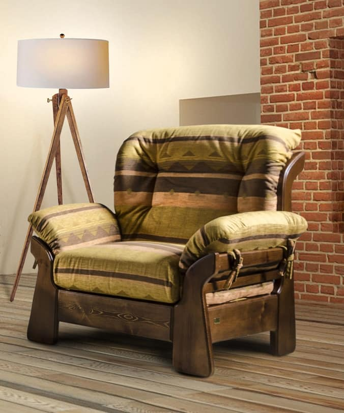 New Jersey Armchair, Rustic Armchair, With Welcoming Shapes