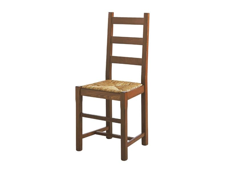 334, Easy chair in solid wood, with straw seat