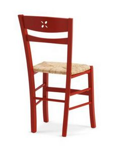 811 P, Rustic chair with straw, with footrests