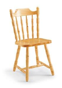 S/103 Colonial Chair, Rustic chair in solid pine, for mountain inns