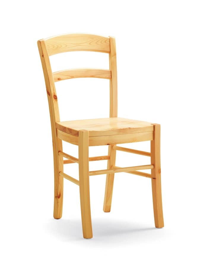 S/127 L Paesana Wood, Chair made entirely of solid pine, for bars and taverns