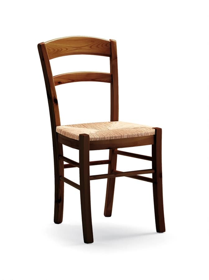 S/127 P Paesana Straw, Rustic chair in solid pine wood, with straw seat