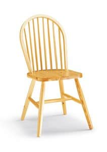 S/146 Windsor Chair, Rustic chair made entirely of pine, with vertical slats