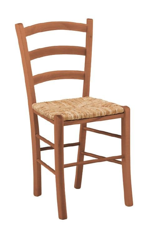 SE 119, Rustic wooden chair with straw, for wine bar