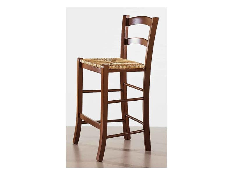 199, Wooden stool, old fashioned, for kitchens and pizzerias