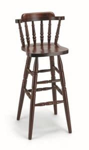 714, Stool in beech wood, backrest with vertical slats