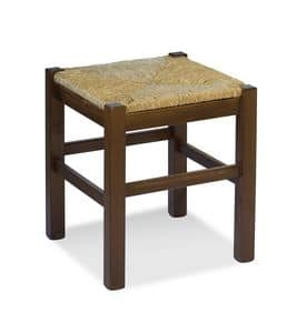 H/307 P Stool Anita, Solid pine stool in country style with straw seat
