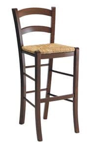 SG 119, Rustic stool in wood with straw seat, for bars