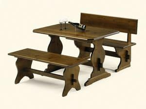 980, Table in pine wood, rustic style, for pizzeria