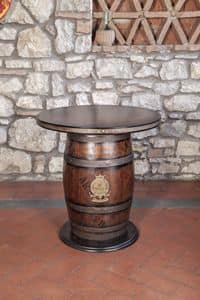 Art. CT 630, Barrel-shaped table, rustic style