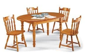 T/140 oval, Rustic oval table in solid pine wood, for saloons