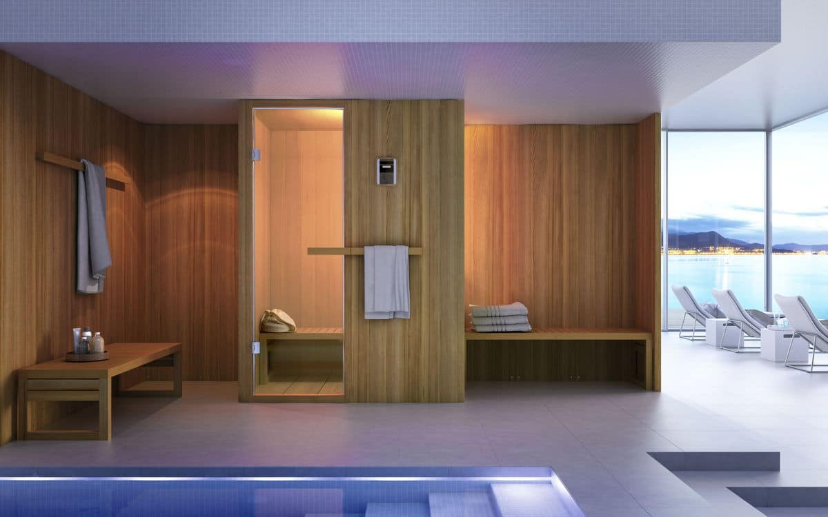 sauna for modern bathroom wooden innovative and functional idfdesign. Black Bedroom Furniture Sets. Home Design Ideas