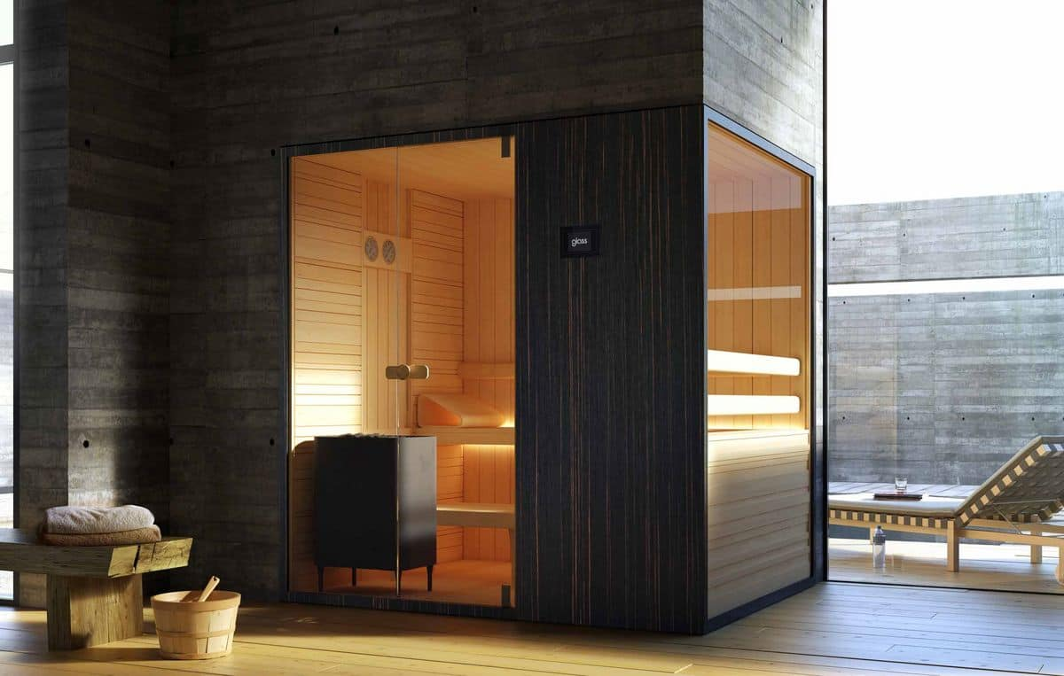 sauna in wood and transparent glass for swimming pool. Black Bedroom Furniture Sets. Home Design Ideas