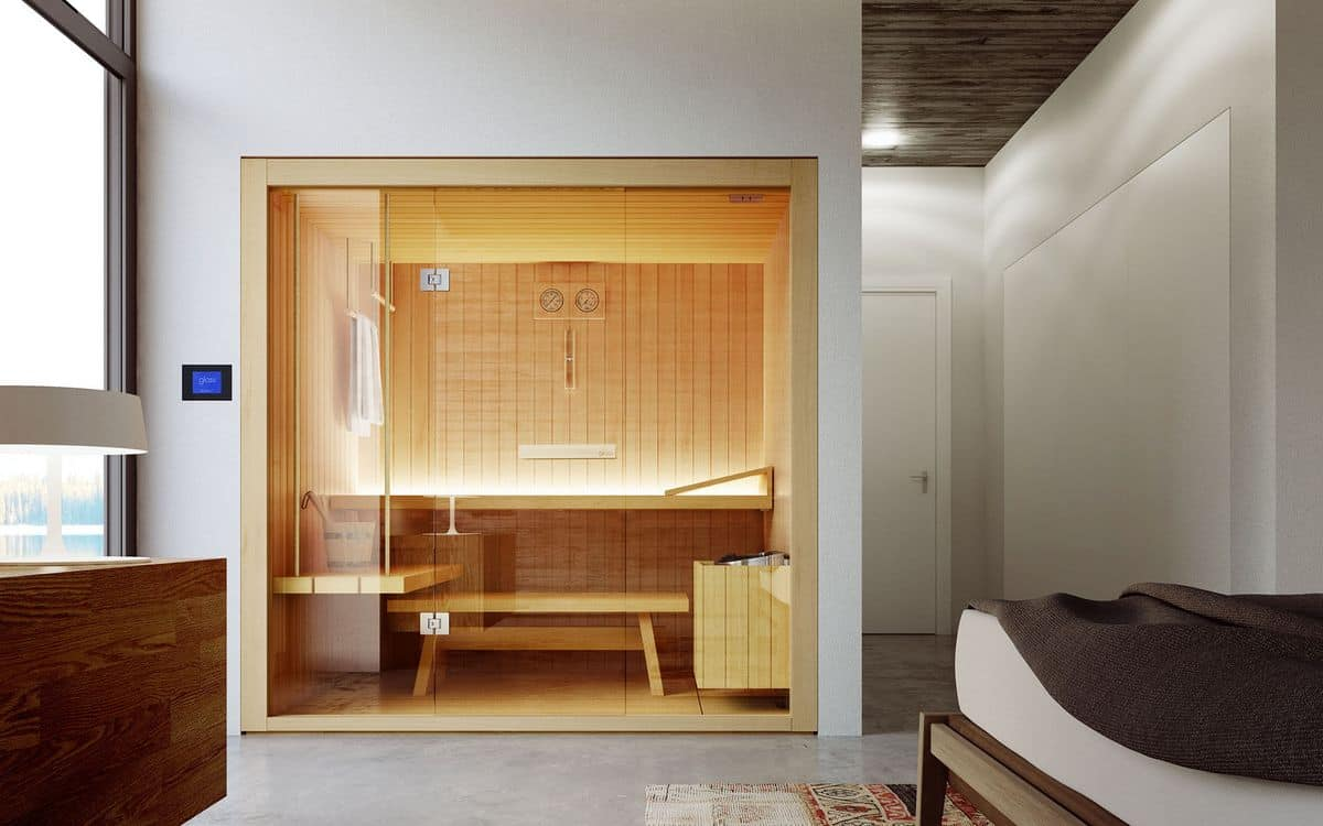 wooden sauna with glass windows for hotels idfdesign. Black Bedroom Furniture Sets. Home Design Ideas