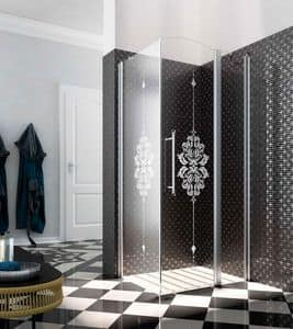 HERITAGE, Shower enclosure with crystal decorated, drip collector profile