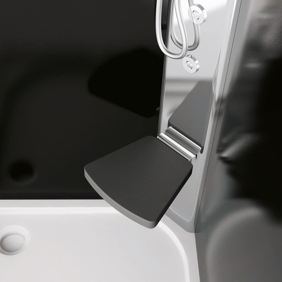 Sound, Shower with seat, in glass, for modern bathroom