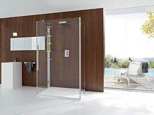 Picture of UNICO along the wall closing with door, corner shower boxes