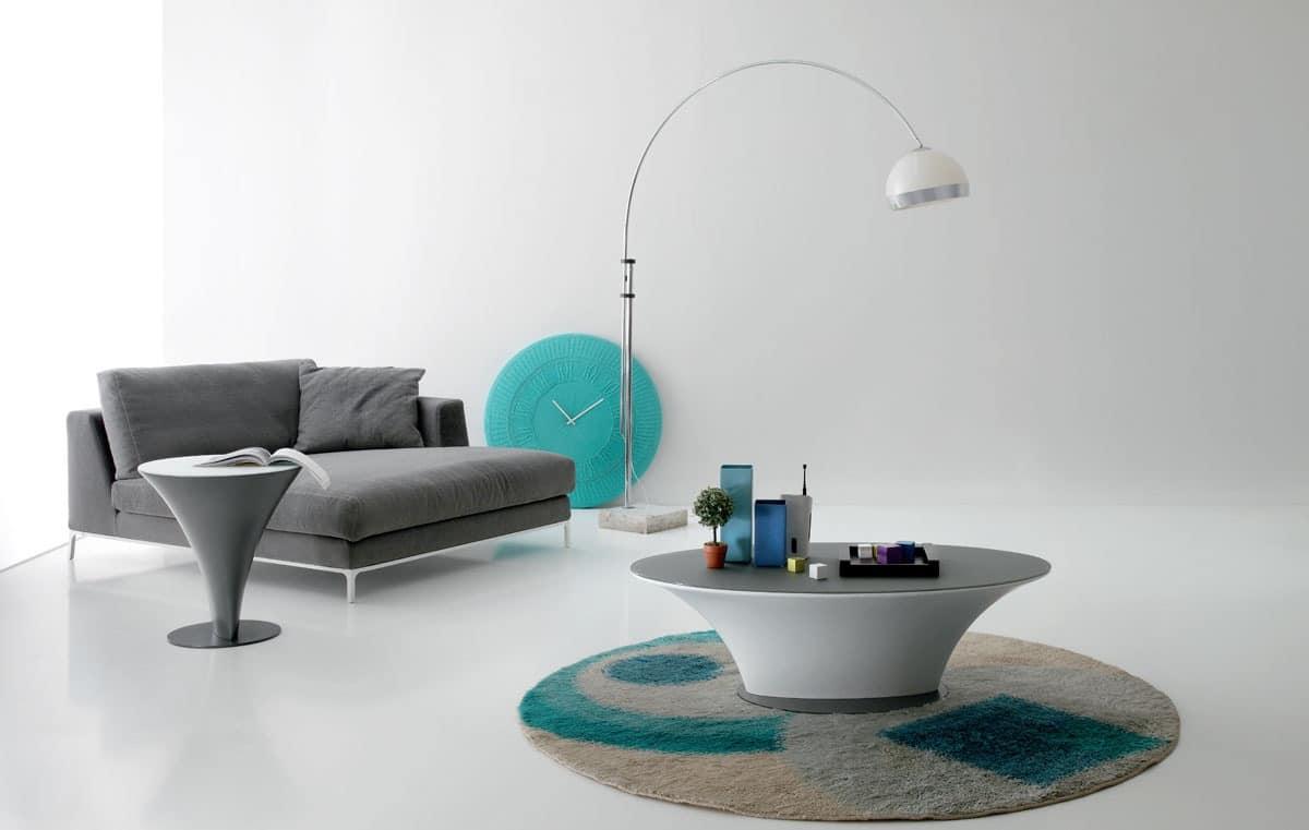 Modern elliptical coffee table for living room idfdesign for Table design yacht
