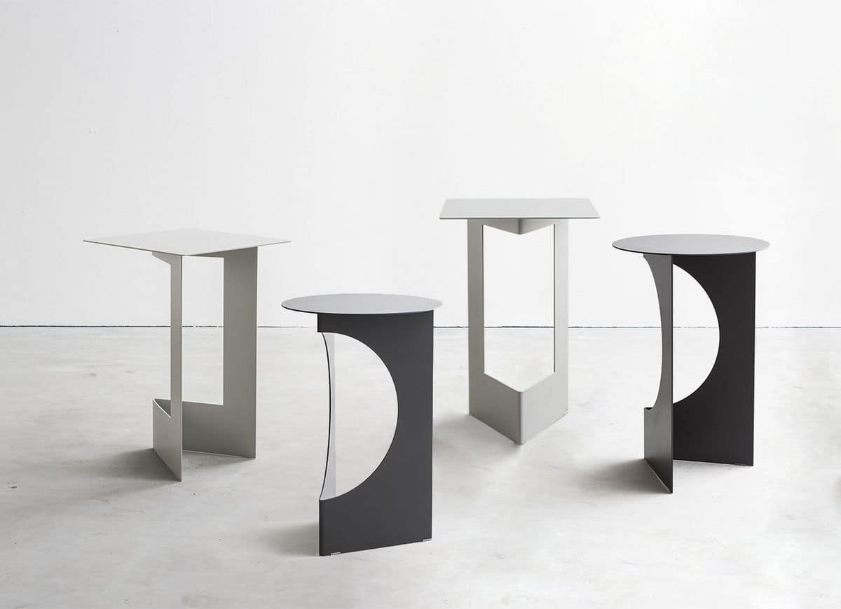 Robust small table in metal sheet folded and painted for Table sheet design