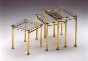 IONICA 674, Group of 3 coffee tables in polished brass