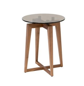 Zen round side table, Canaletto walnut small table with glass round top